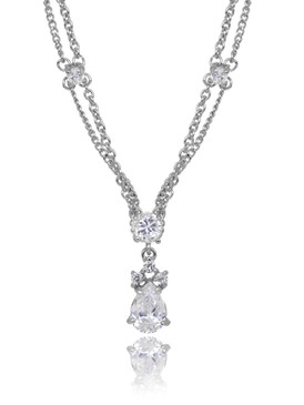 Georgie's Double-Chain CZ Drop Necklace  | Necklaces