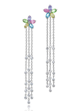 Flower Lariat CZ Earrings  | Earrings