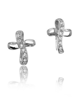 Jenny's Crystal Ribbon Cross Earrings  | Earrings