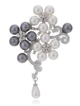Crystal Pearl Drop Flower Brooch 83756