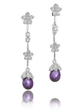 CZ & Crystal Purple Drops Earrings  | Earrings