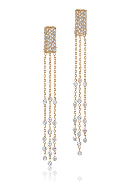 Crystal Tube Lariat Earrings 32380