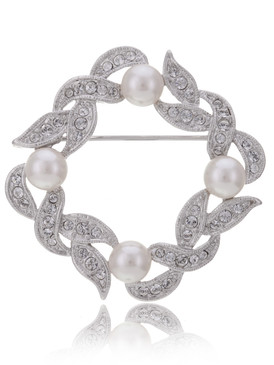 Crystal and Pearl Wreath Brooch  | Brooches