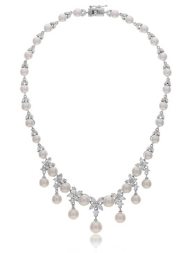 Zana's Flower CZ Pearl Drop Necklace 4 | Necklaces