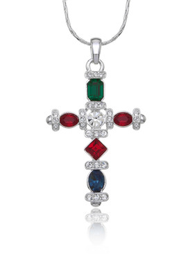 Multi-Color Crystal Cross Pendant  | Pendants