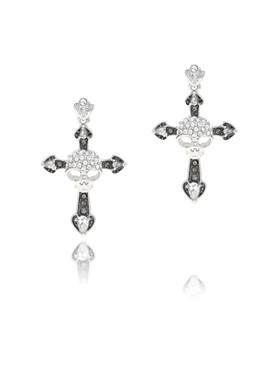Skull Design Cross Crystal Earrings  | Earrings