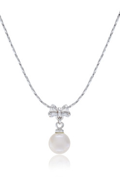 Sweet sixteen Bow Design Pearl Pendant Necklace 33676