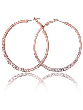 Rose Gold Plated Crystal Side Hoop Earrings, Wholesale Fine Fashion Jewelry, JGI Jewelry