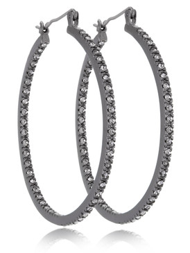 Gunmetal Crystal Pave Hoop Earrings, Wholesale Fine Fashion Jewelry, JGI Jewelry