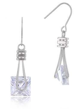 Square CZ Drop Earrings, Cubic Zircona Bridal Jewelry & Wholesale Wedding Accessories | Shop JGI Jewelry