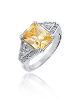 Designer Inspired Yellow Cubic Zironia Rhodium Ring 10350
