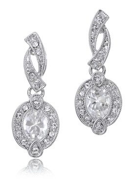 Beautiful CZ Rhodium Earring | JGI Jewelry