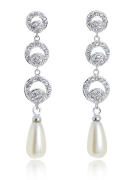 Long Pearl Drop Rhodium Earring | JGI Jewelry