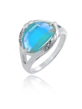 Big Aquamarine CZ Rhodium Ring | JGI Jewelry