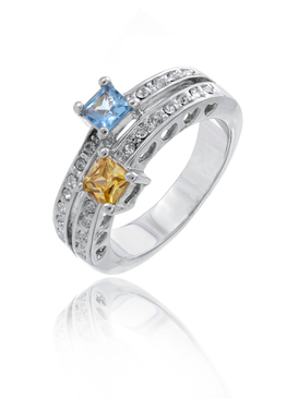 Designer Inspired Rhodium with Square CZ Ring
