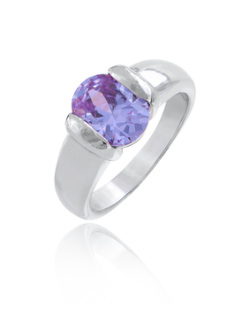 Amethyst Rhodium Ring | JGI Jewelry