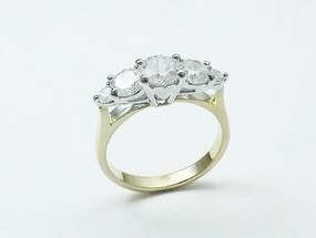 Five CZ Rhodium Ring, 10280