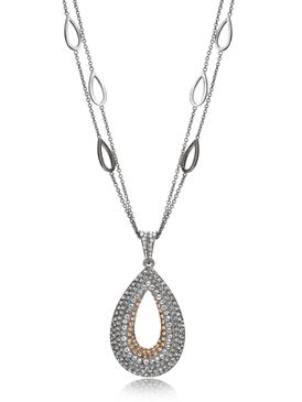 Paved Teardrop Oval Necklace 450200b