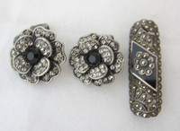3 Pcs Vintage Marcasite Jewelry Pair Flower Clip Earrings + Sterling Brooch/Pin