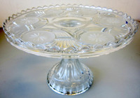 Antique EAPG Nickel Plate Glass Frosted Circle Pedestal Cake Stand Plate c. 1890