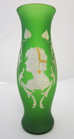 Victorian Frosted Green Glass Vase Mary Gregory Style Cameo Lady Bust w/Gold