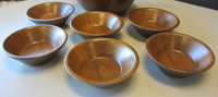 Vintage Trentham Woodcraft 8-Pc Walnut Salad Set 1-Large 6-Small Bowls +Tongs
