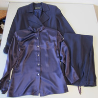 3-Pc Linda Allard For Ellen Tracy Purple Suit Wool Pants Jacket w/Silk Top Sz 4