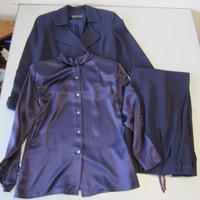 3-Pc Linda Allard For Ellen Tracy Purple Suit Wool Pants Jacket w/Silk Top Sz 4