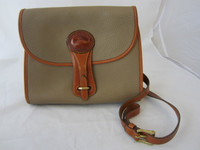 Dooney & Bourke Taupe Pebbled & Tan Leather Purse Handbag w/Shoulder Strap