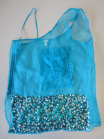"Dosa 100% Silk Burmese Nun's Top Deep Turquoise Blue w/Sequins ""Aloha"" Size 3"