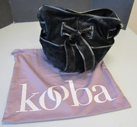 Kooba Black Suede Large Hobo Purse Handbag Tote Patent Trim w/Dustbag