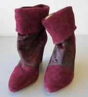 """Plomo """"Dominique"""" Ankle Boots Burgundy Plum Suede Leather EU 38 US 7.5"""
