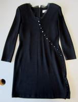 St. John Evening Marie Gray Knit Black Dress w/Lace & Diagonal Button Trim Sz 4
