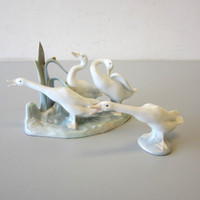 2 Lladro Figurines #4549 GEESE GROUP & #4551 HONKING GOOSE Duck Swan Spain