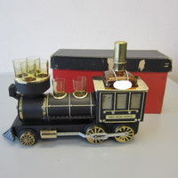 Lucky Gold Terada 1880 Iron Horse Musical Steam Engine Scotch Bottle 6 Glasses