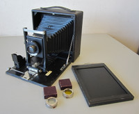Seneca Black Beauty Folding Camera w/Rotating Back 5x7 Lens Autex Shutter