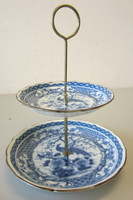 Vintage Toyo Japanese Imari Blue & White Peacock 2 Two-Tiered Serving Plates