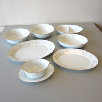 7 Pcs Noritake China COURTNEY 2-Round Serving Bowls 1-Oval 1-Divided 2 Platters