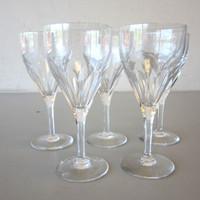 "5 Val St Lambert Crystal ELEGANCE TCPL Pattern Claret Wine Glasses 6-5/8"""