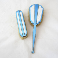 2 Sterling Silver Blue White Guilloche Enamel Art Deco Brushes Hair Clothes