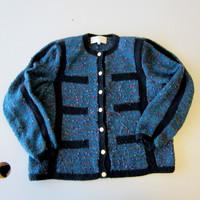Peruvian Connection Teal Blue Merino Wool Handmade Cardigan Sweater Women's M