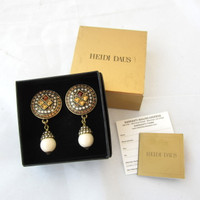 New In Box Pair Heidi Daus Clip Drop Earrings Swarovski Crystal Opalescent NIB