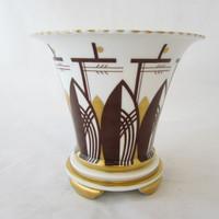 Vintage Haas Czjzek H&C Schlaggenwald Art Deco Cachepot Planter White Brown Gold