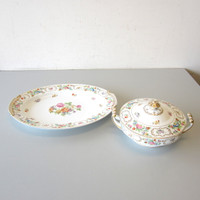 "3 Pcs Vintage Noritake China N152 Covered Vegetable & 16"" Platter Occupied Japan"