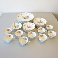 35 Pcs Vintage Mitterteich China MEISSEN FLORAL Dinner Salad Plates Cups Saucers