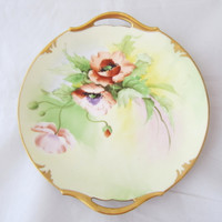 "Antique T&V Limoges 10-13/16"" Charger Cake Plate Gold Trim Hand-Painted Poppies"