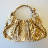 Nancy Gonzalez Tan Gold Metallic Python Snakeskin Hobo Purse Bag $4000 Retail