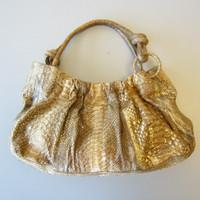Nancy Gonzalez Tan Gold Metallic Python Snakeskin Hobo Purse Bag $4000 Retail