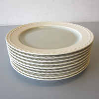"Set 9 11"" Dinner Plates Wedgwood Stone Harbor SeaGrass Green Tan Braided Edge"