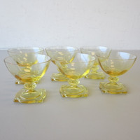 6 Vintage Heisey Carcassone Low Sherbet Glasses Sahara Yellow Optic #3390 Sq Ft